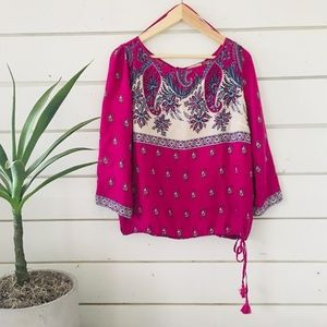 Patterned tie waist blouse